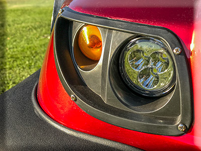 The MiCaddy GM2 has LED Headlinghts and indicator Lights