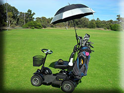 The MiCaddy Golf Mat is also availabe without the canopy and can be fitted with an umbrella