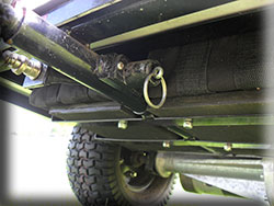 A quick release pin is provided to seperat the front of the MiCaddy Golf Mate cart from the rear section