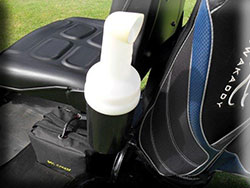 A convenient and clean Sand Dispenser fitted on this golf cart