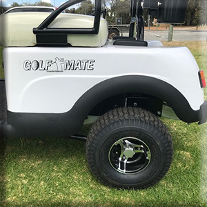 MiCaddy GM2 Golf Mate Electric golf cart fited with standard mag wheels