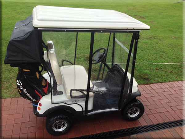 MiCaddy Electric Golf-Mate Golf cart with canopy and wet weather curtains