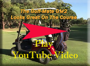 Click in this image to view a youtube video of the Micaddy Golf-Mate electric golf cart